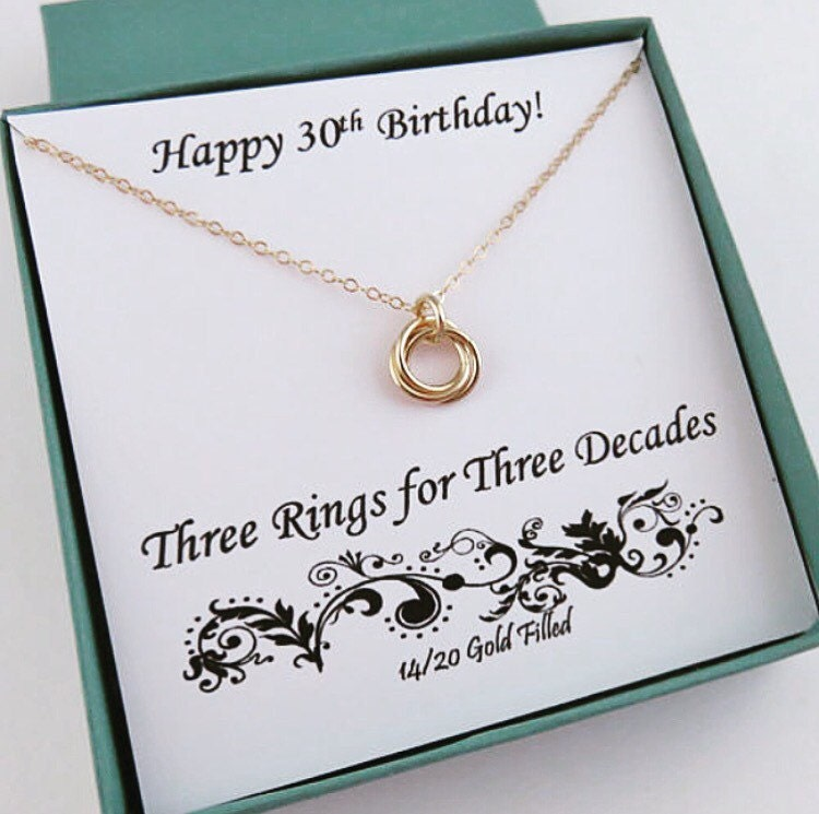 30th Birthday For Her Gold Birthday Necklace 30th Birthday