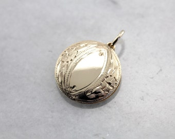 Vintage Etched Disc Pendant, Perfect for an Initial, in Yellow Gold 40U1A8-D