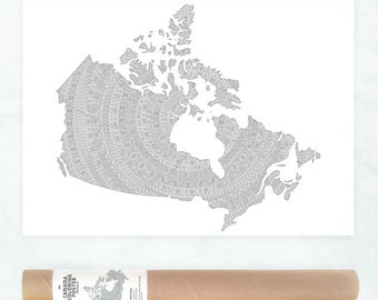 Canada map coloring poster, mandala wall art, patriotic gifts for Canadian, Canada province map, political map poster, mandala pattern