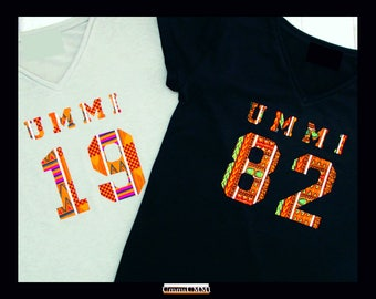 No Sew Iron-On African Print Dashiki or Kente Varsity Letters & Numbers With Metallic Gold Detail