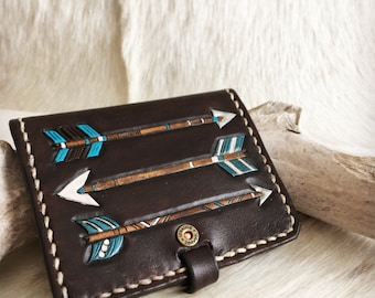 Leather wallet with arrow desgin in dark brown white and turquoise, customized with initials! hand tooled, hand painted
