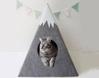 Cat bed with a matching pad - cat teepee  - cat bed - cat cave - cat house - pet teepee - cat tipi - pet bed - cat bed cave
