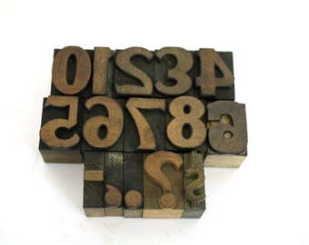 Vintage One Inch Letterpress Numbers / Printers Block 0 - 9 / Pick Your Numbers