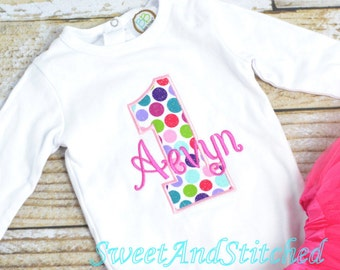 Girls 1st Birthday Outfit, cake smash outfit with polka dots - First  (2nd, 3rd, 4th, 5th) birthday outfit!  Personalized Birthday Outfit