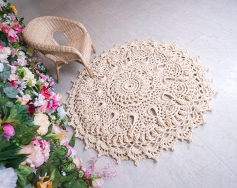 """Ivory doily rug, round area rug (51 in), crochet rug, yarn lace mat, cottage nursery carpet, rustic floor decor by LaceMats """"Narcissus"""""""