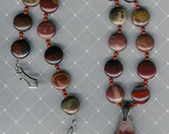 Apple Picking Time - OOAK Red and White Agate Pendant, Apple Jasper, Red Jasper, SS Necklace Unique Statement Jewelry Multicolor Gemstone