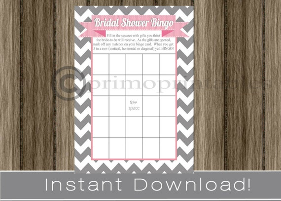 BRIDAL Shower Bingo Game Cards gray chevron and pink /  INSTANT DOWNLOAD / diy digital printable file / print your own / 5x7 inch