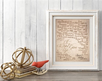 1st Paper Anniversary Gift for husband wife - Song Lyrics -  I Wont Give Up by Jason Mraz - Personalized names, date pick colors verse print