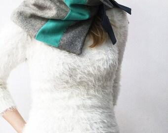 Wool scarf, grey scarf, mint green neck warmer, neck gaiter, cowl neck scarf, wrap around tube