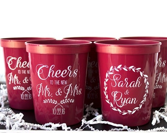 Custom Cup, Personalized Wedding Cup, Personalized Favors, Party Cup, Custom Stadium Cup, Plastic Cup, Fall Wedding, Table Decor, Customized