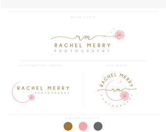 signature emblem dandelion -Feminine Watercolor Design Branding Package Inc. Photography - GOLD GLITTER initials script cute Watercolor Logo