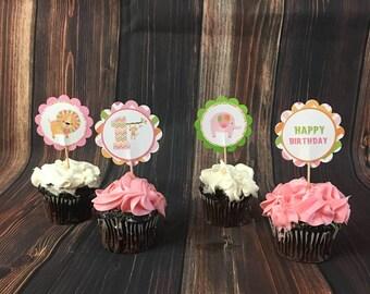 Girl Safari Cupcake Toppers, Safari CupCake Toppers