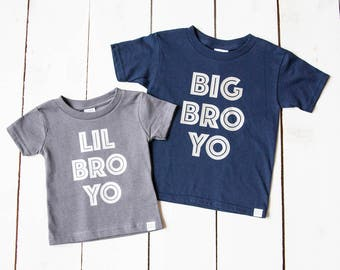 BIG Bro LIL Bro Shirts SET Unisex Style Brother New Baby Announcement Brother Shirt Set