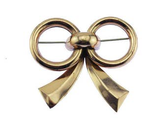 Vintage Chunky Gold Bow Brooch, Large Gold Bow Pin,Rose Gold Bow Brooch