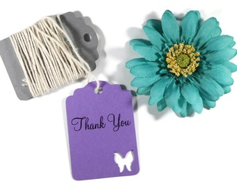 Purple Butterfly Tags Set of 20 - Wedding Favor Tags - Butterfly Party Tags - Plum Bridal Shower - Thank You Tags - Baby Shower