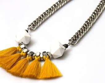 Mustard yellow  tassels necklace, fringe fan necklace, white yellow statement necklace, modern tribal fringe, nulika
