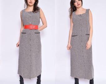 Vintage 90's Button Maxi Dress / Sleeveless Maxi Dress / Brown MAxi Dress- Size Small/Medium
