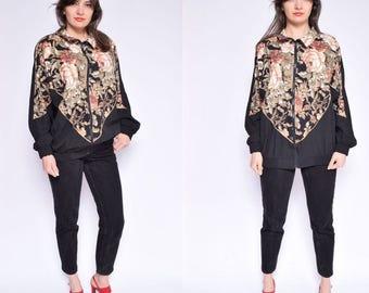 Vintage 80's Floral Print Windbreaker / Black Floral Zipper Jacket / Floral Bomber Jacket - Size XL