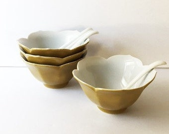 Set Of Four Stacking Lotus Bowls With Matching Spoons