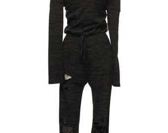 Black Long Romper,Knit Jumpsuit,Distressed Jumpsuit,Black Knit Jumpsuit, Distressed Romper,Knit Romper,Black Romper,Long Romper,Gift for Her
