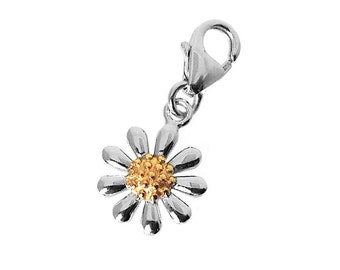 Silver Daisy Charm with Lobster Clip Fastener - Ref: AEH001