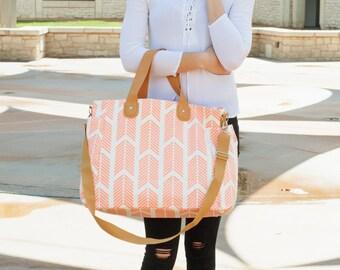 Peach Arrows Weekender Tote Bag - Large Diaper Tote