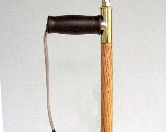 Walking Cane-Handcrafted-Oak Hardwood Shaft-Textured Grip-Rubber Cane Tip