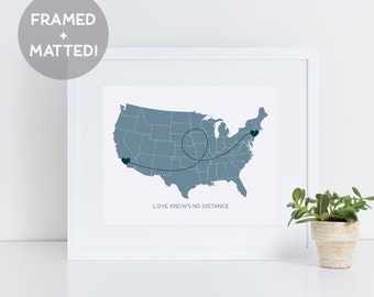 US Map Framed Custom Print, Long Distance, Custom State Gift, Long Distance Love, Gift for Mom, Wall Decor, Gift Idea, Map Print