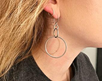 Sterling Silver Hoop Dangle Earrings