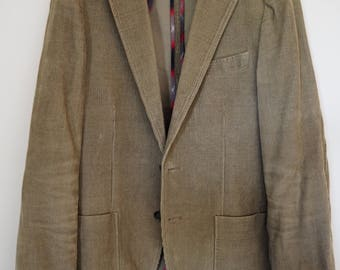 Men's dark beige fitted corduroy suit jacket M
