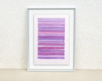 Purple, Violet stripes painting. Nursery art. Stripes watercolor. Baby girl nursery art. Original Watercolor Painting. Baby nursery decor.