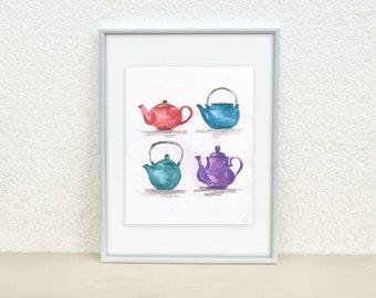 SALE. Teapot painting. Kitchen wall art. Four Teapots. Teapot illustration. Teapot watercolor. Original Painting. 8x10