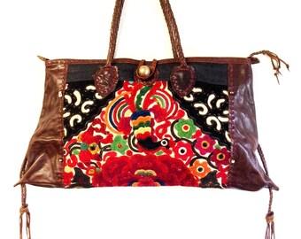 Applique Large Purse Vintage Fabric - Thailand Fair Trade (080P)