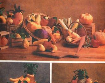 Uncut 5086 Butterick Sewing Pattern Stuffed Veggie & Fruit Margit Echols Corn Eggplant Squash Apple Pumpkin Pineapple Banana Carrot Orange