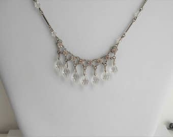Art Deco Crystal Icicle and Diamonte Drop Necklace 1920s Bridal Wedding Evening