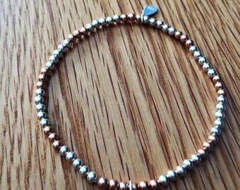 Pink Heart Swarovski  Bracelet with Sterling Silver and Vermeil Rose gold