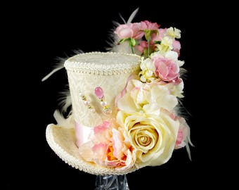Cream and Pink Rose Garden Large Mini Top Hat Fascinator, Alice in Wonderland, Mad Hatter Tea Party, Derby Hat