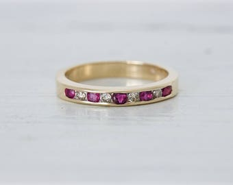 Birthstone Stacking Ring | July and April Birthstones | 14k Yellow Gold Band | Ruby and Diamond Ring | Anniversary Gift For Mom | Size 6.25