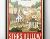 Stars Hollow affiche - voyage Vintage - inspiré par Gilmore Girls (Version rouge)