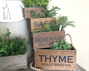 Customized Herb Nesting Boxes Set Of 4 | Herb Garden | Herb Boxes | Spring  Decor