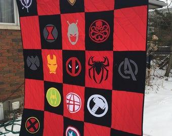 Marvel Quilt/Hunter's Quilt/African Quilt/Custom Quilt/Lap Quilt/Harry Potter Quilt/Appliqué Quilt