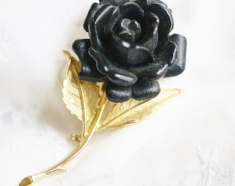 Vintage Mid Century Large Black Rose Brooch Pin with Gold Tone Stem and Leaves