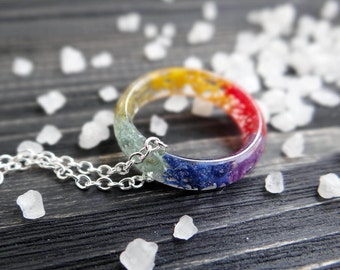 Rainbow chakra jewelry chakra ring yoga jewelry karma ring 7 chakra necklace sterling silver chain lgbt gay pride flag yoga gifts moss ring