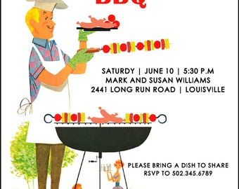 Backyard Barbeque | Barbeque Party | Cookout | Invitation | Picnic | Retro | Grill | Party Invitation | Printable