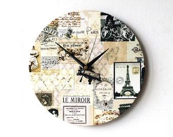 Paris Wall Clock - Decoupage Fabric Round Clock 10'' - Eiffel Tower Paris Vintage Scenes Beige Black Sepia