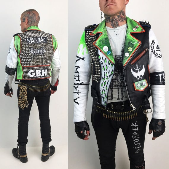 Leather Punk Jacket Mens Medium Vintage FMC - Hand Painted Neon G.B.H. / Doom / Amebix / Oi! / Studded Back Green White Crust Punk Leather