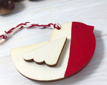 Wooden Red Breasted Robin Christmas Tree Ornament / Decoration