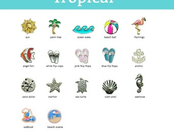 Floating Charm for Glass Lockets, TROPICAL Charms for Memory Locket, Personalized Locket Charm, Add Charms to our Floating Locket Pendants.