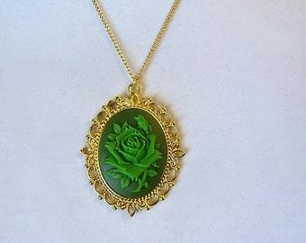 Wild Irish Rose Cameo Necklace. Green Rose.