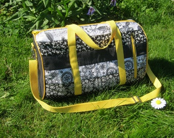 Patchwork duffle bag, overnight bag, gym bag, black and white, faux leather, swoon pattern, small travel bag, weekend bag, sport bag